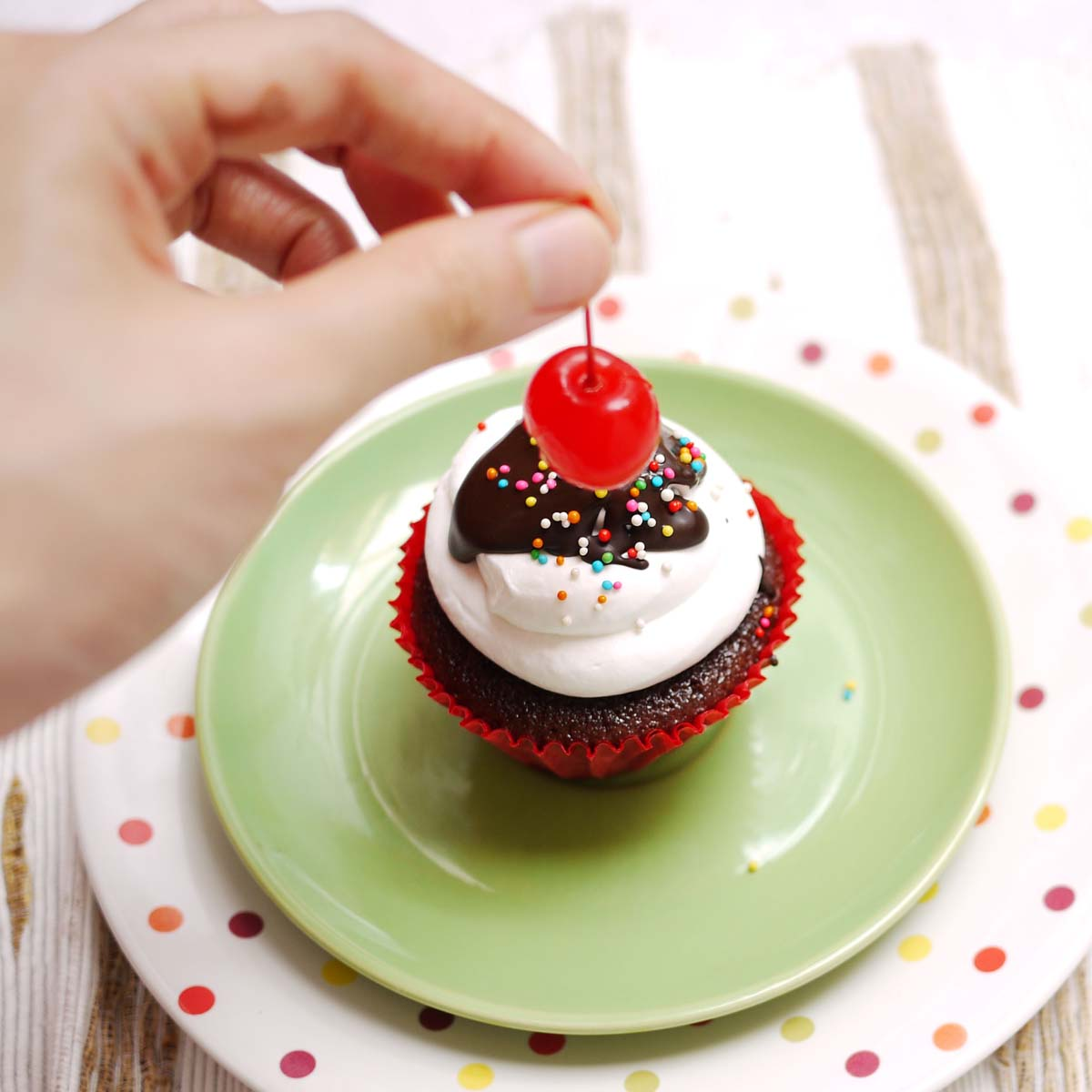 Cupcake Cake With Cherry On Top