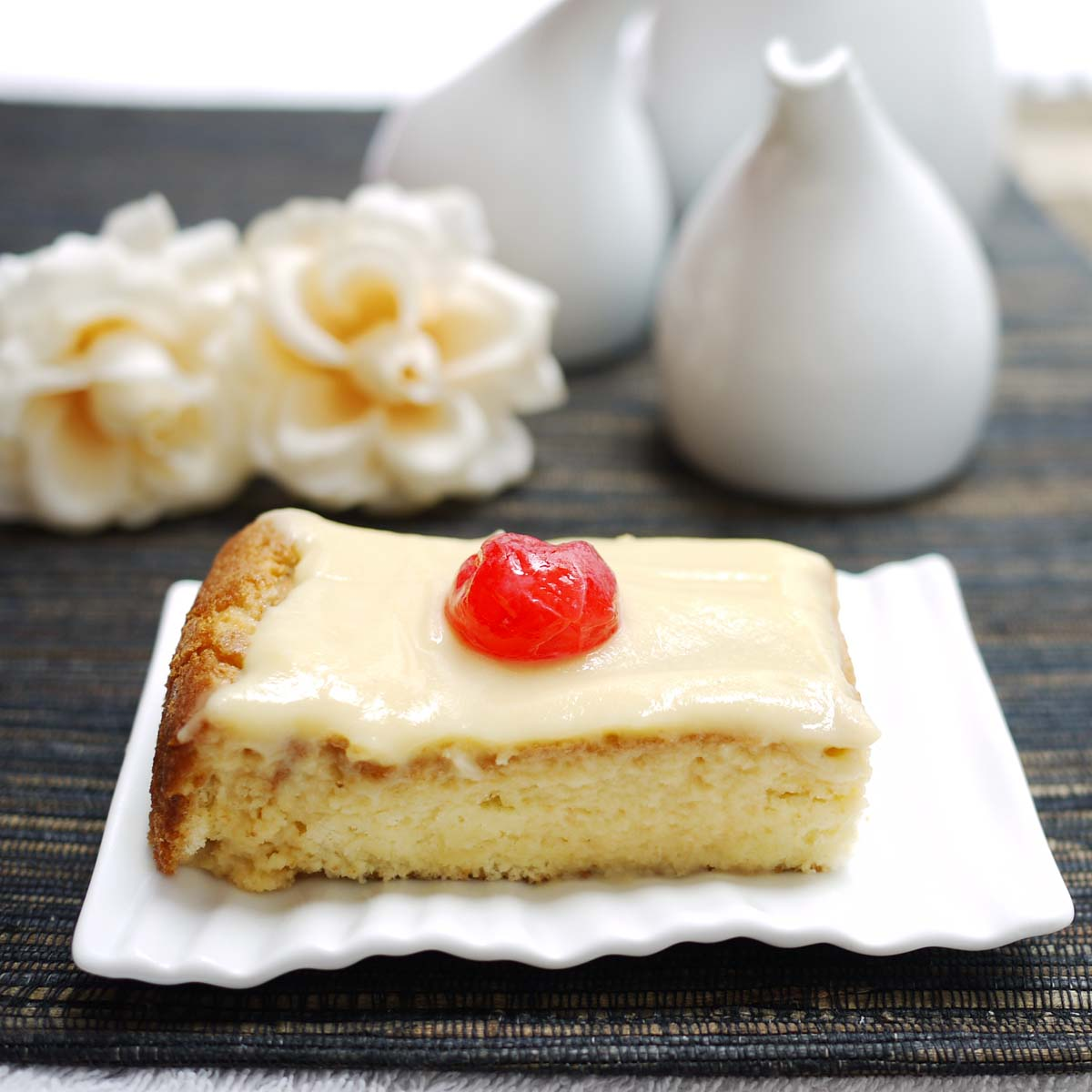 With this Tres Leches cake, or in English, The three milk cake. Three ...