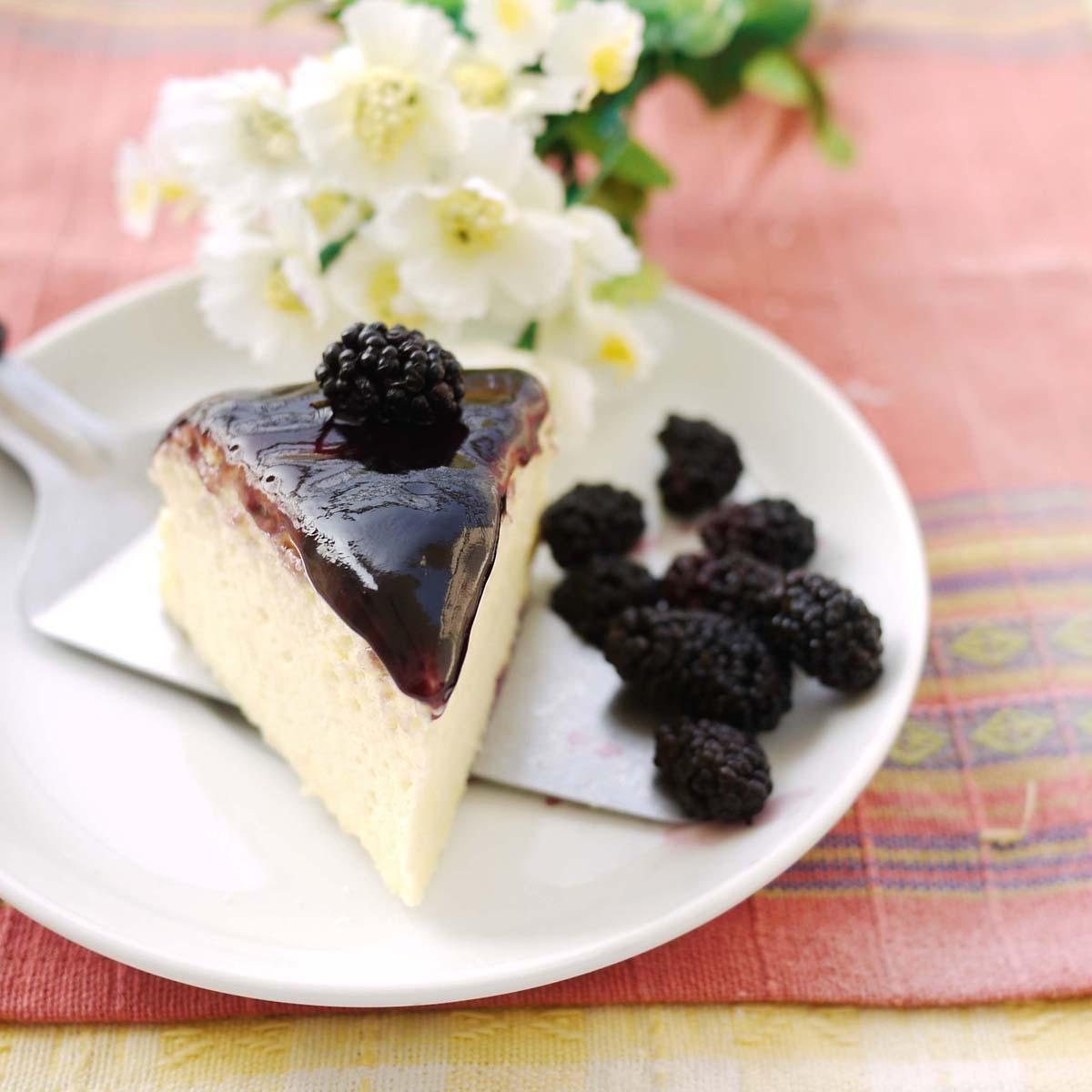 Blackberry Japanese Cheesecake | Crustabakes