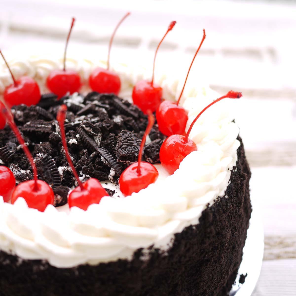 Pleasing Oreo And Cherries On A Birthday Cake Crustabakes Birthday Cards Printable Giouspongecafe Filternl